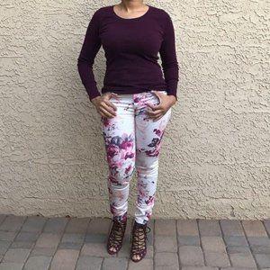 Outfit Bundle- Wine Colored Top, Floral Pants